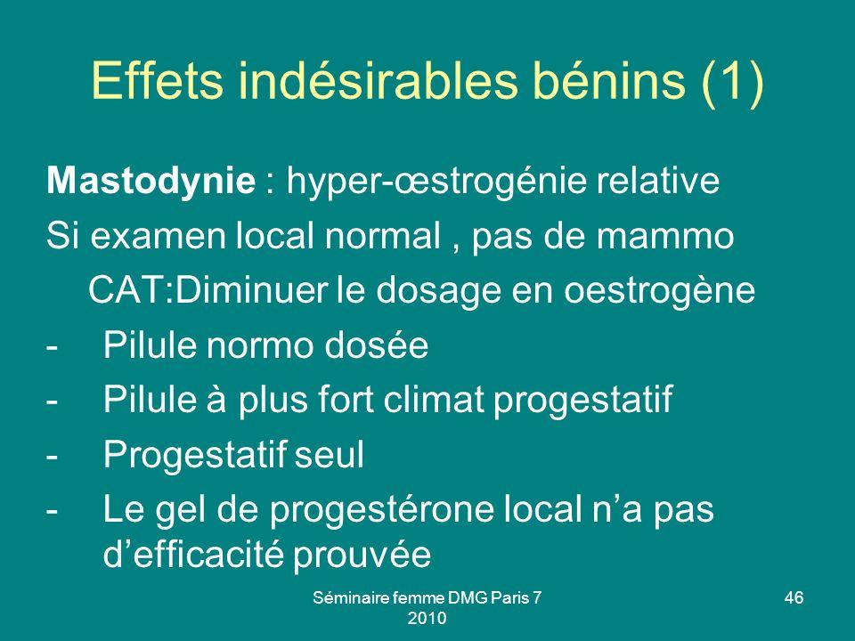 Effets indésirables bénins (1)