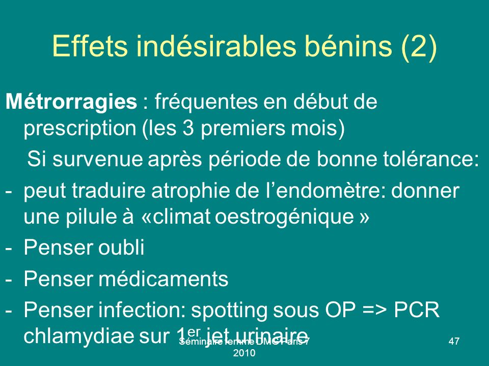 Effets indésirables bénins (2)