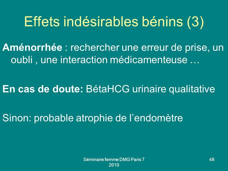 Effets indésirables bénins (3)