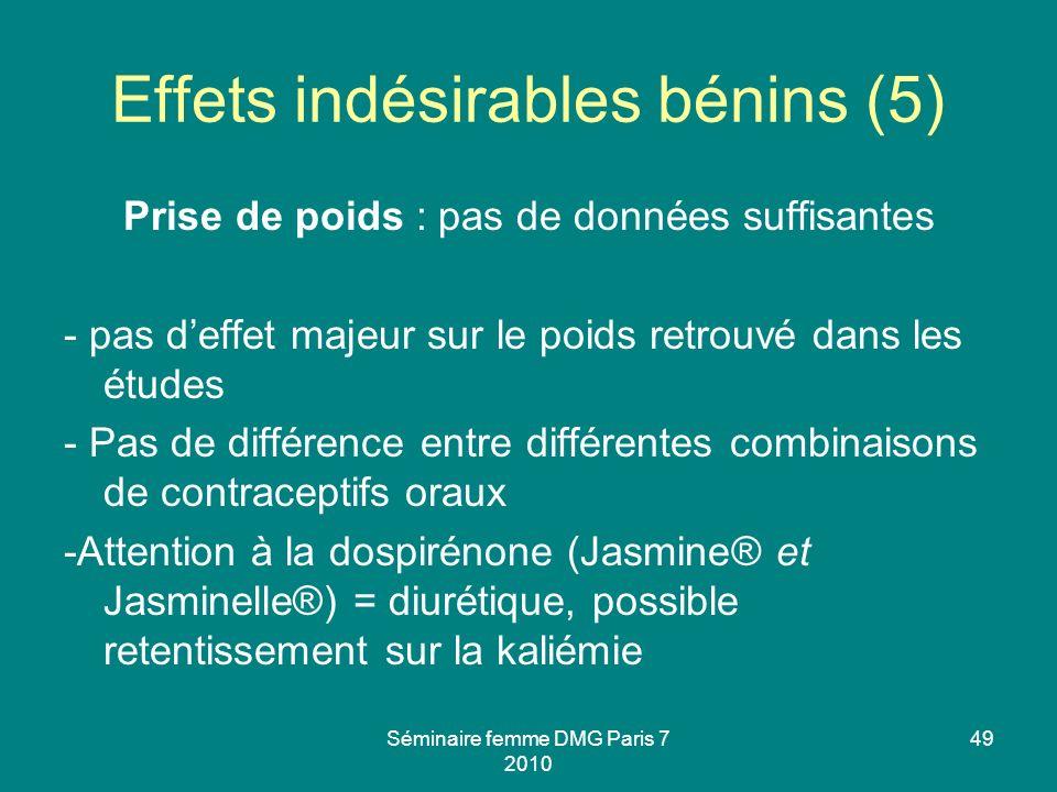 Effets indésirables bénins (5)