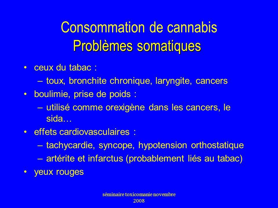 Consommation de cannabis Problèmes somatiques