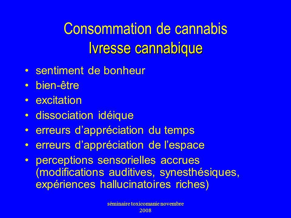 Consommation de cannabis Ivresse cannabique