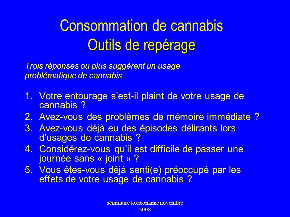 Consommation de cannabis Outils de repérage