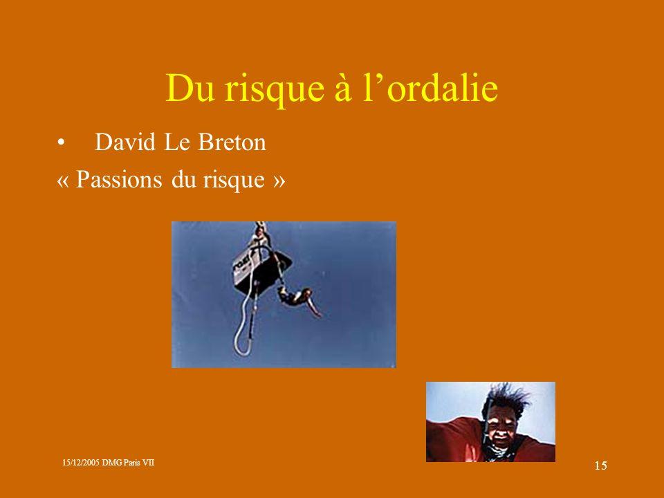 Du risque à l'ordalie David Le Breton « Passions du risque »