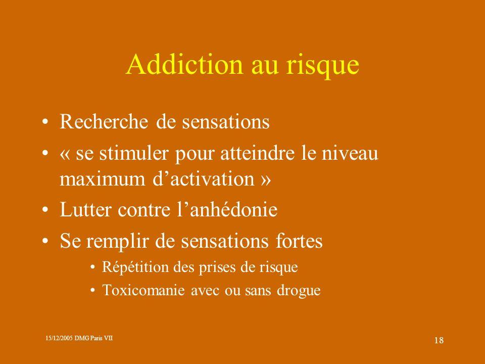 Addiction au risque Recherche de sensations