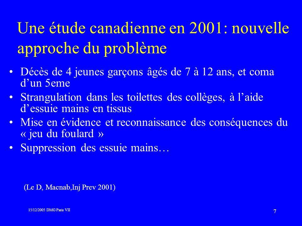 Une étude canadienne en 2001: nouvelle approche du problème