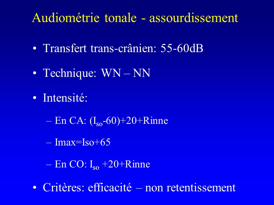 Audiométrie tonale - assourdissement