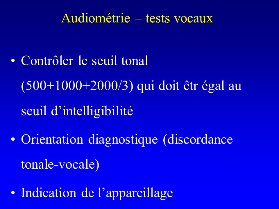 Audiométrie – tests vocaux