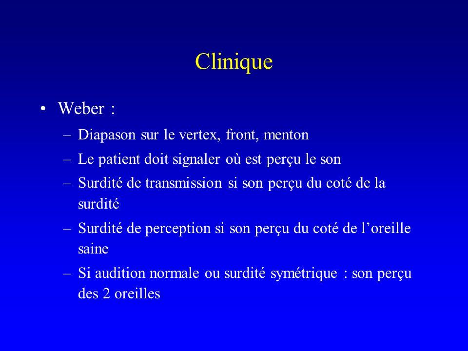 Clinique Weber : Diapason sur le vertex, front, menton
