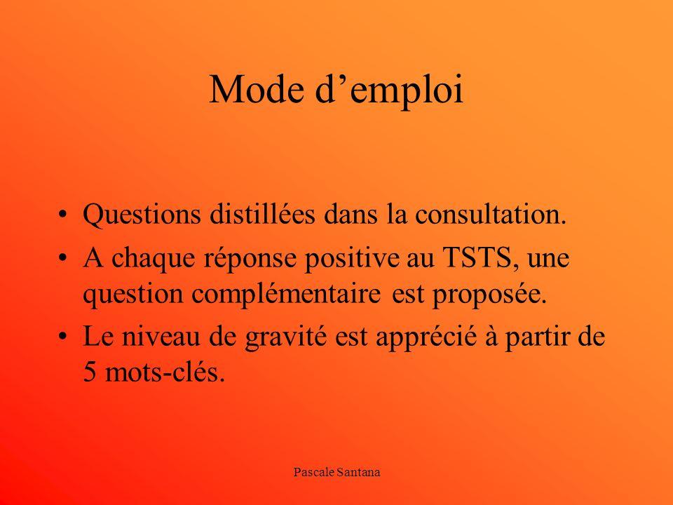 Mode d'emploi Questions distillées dans la consultation.