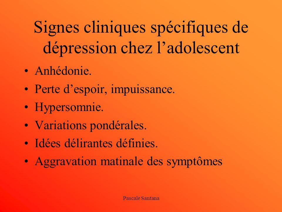 Signes cliniques spécifiques de dépression chez l'adolescent