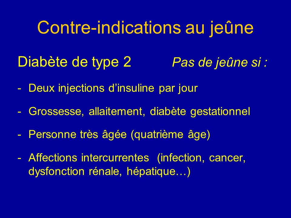 Contre-indications au jeûne