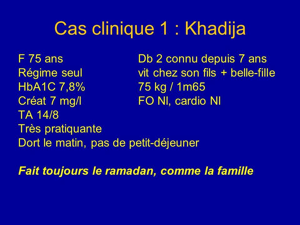 Cas clinique 1 : Khadija F 75 ans Db 2 connu depuis 7 ans