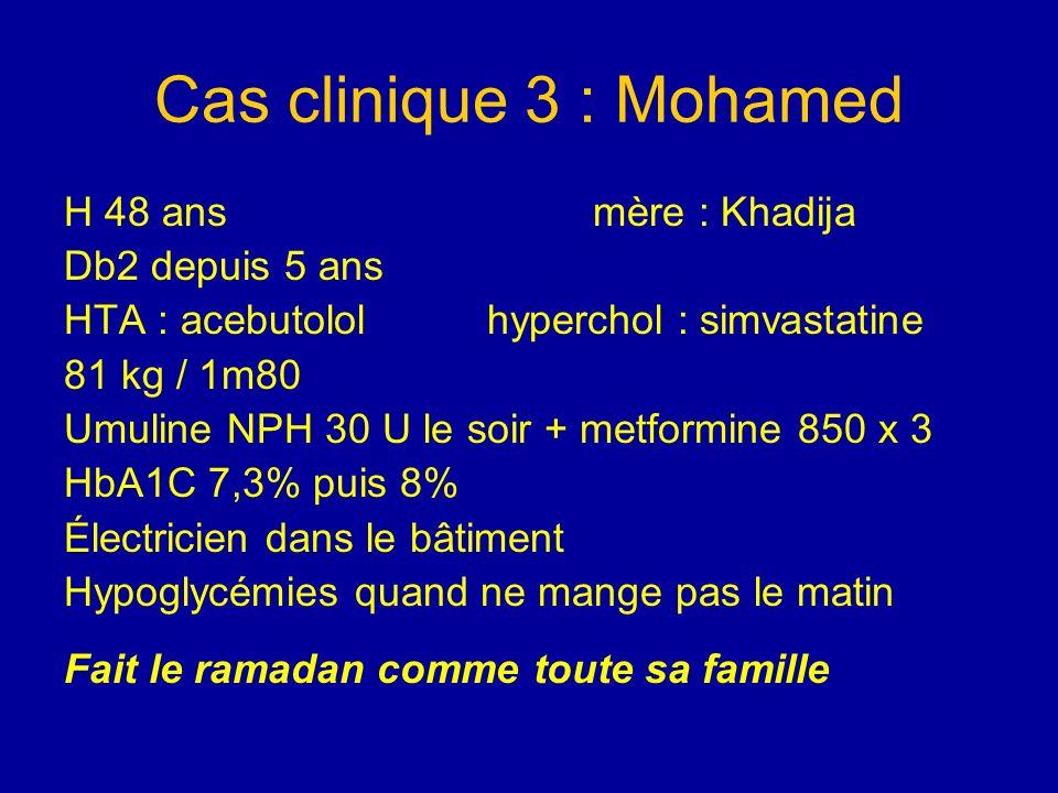 Cas clinique 3 : Mohamed H 48 ans mère : Khadija Db2 depuis 5 ans