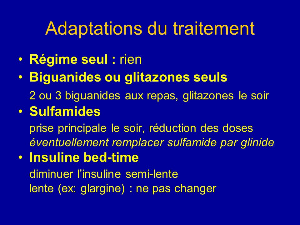 Adaptations du traitement