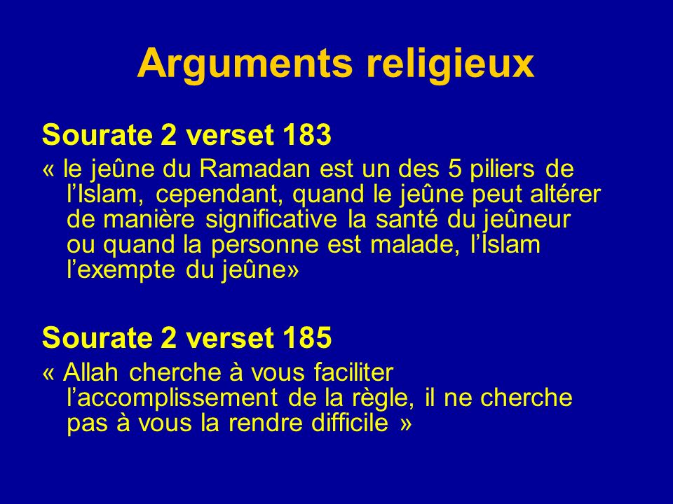 Arguments religieux Sourate 2 verset 183 Sourate 2 verset 185