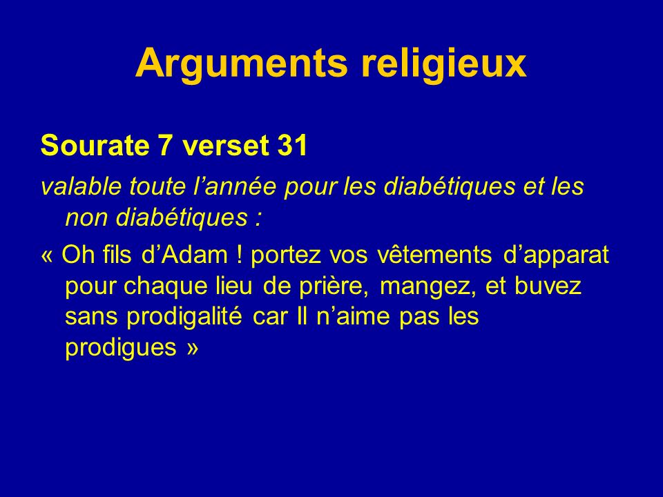 Arguments religieux Sourate 7 verset 31