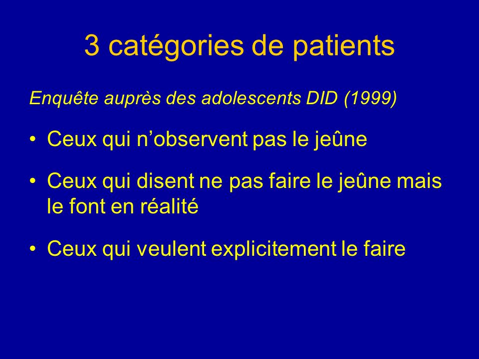 3 catégories de patients