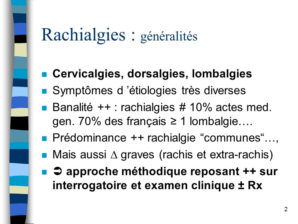 Rachialgies : généralités