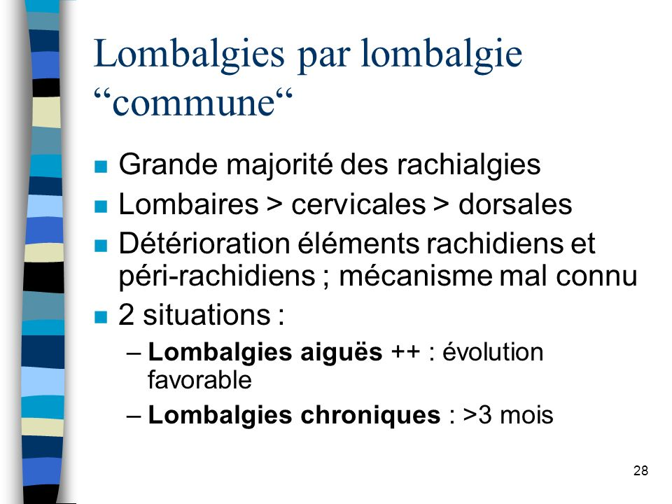 Lombalgies par lombalgie commune