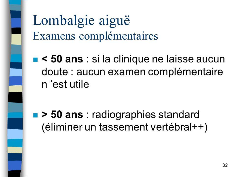 Lombalgie aiguë Examens complémentaires