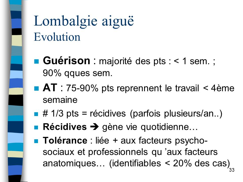 Lombalgie aiguë Evolution