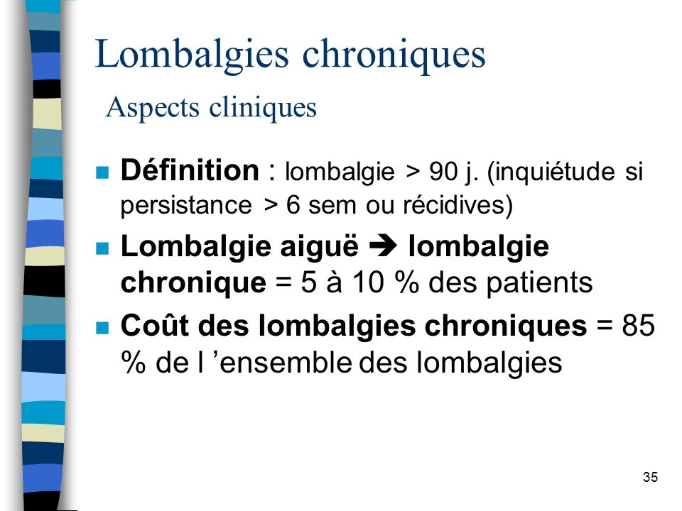 Lombalgies chroniques Aspects cliniques