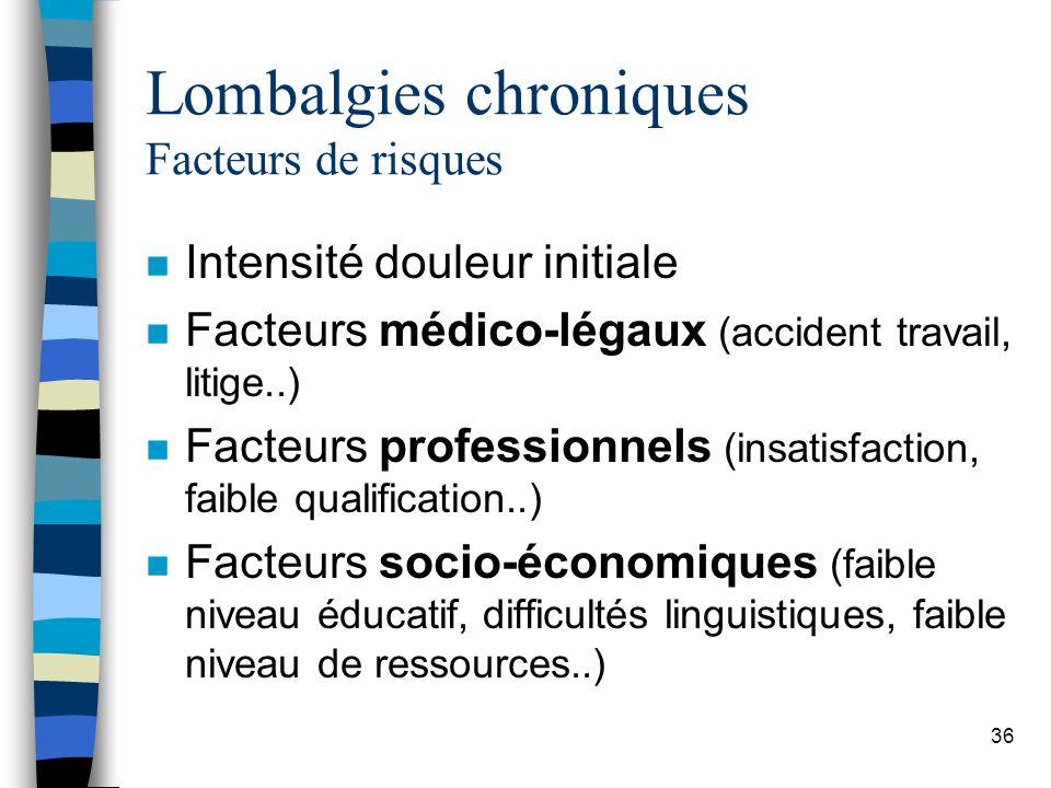 Lombalgies chroniques Facteurs de risques