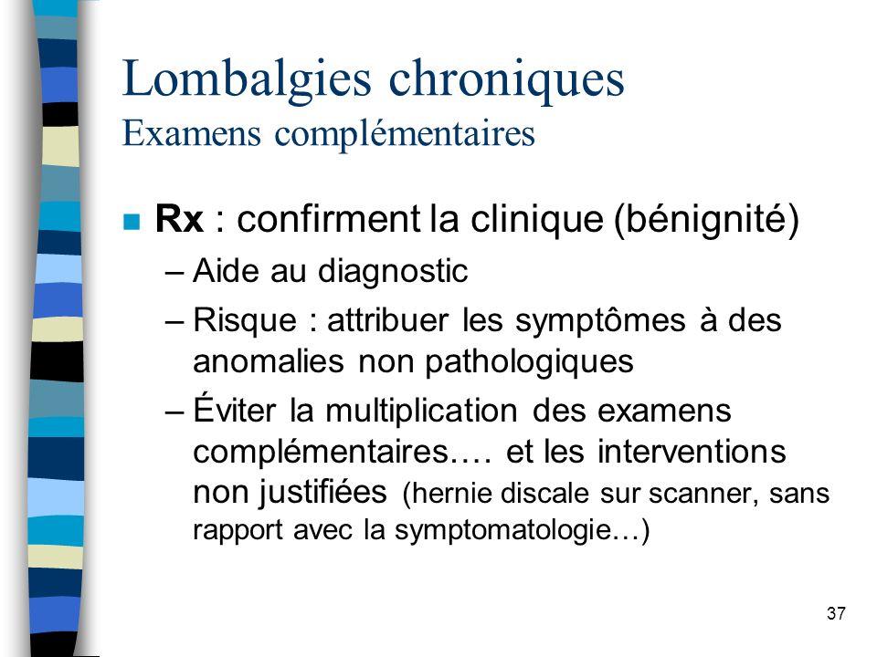 Lombalgies chroniques Examens complémentaires