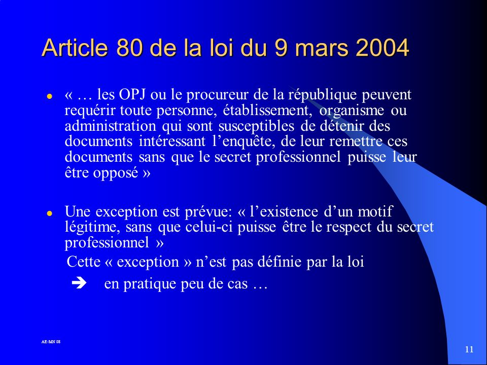 Article 80 de la loi du 9 mars 2004