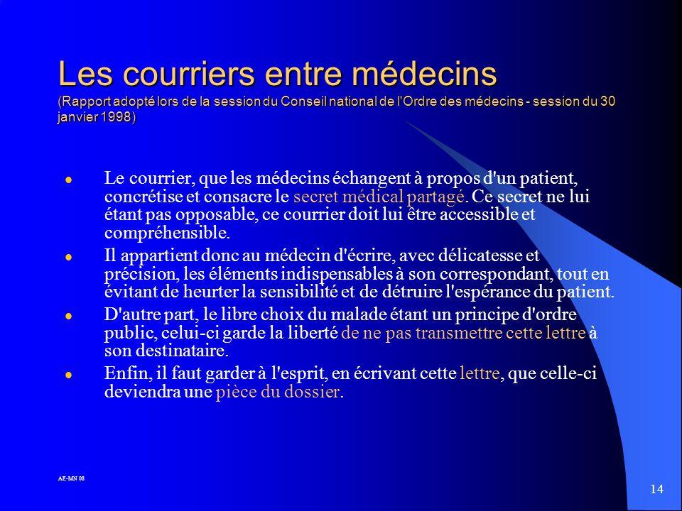 Les courriers entre médecins (Rapport adopté lors de la session du Conseil national de l Ordre des médecins - session du 30 janvier 1998)