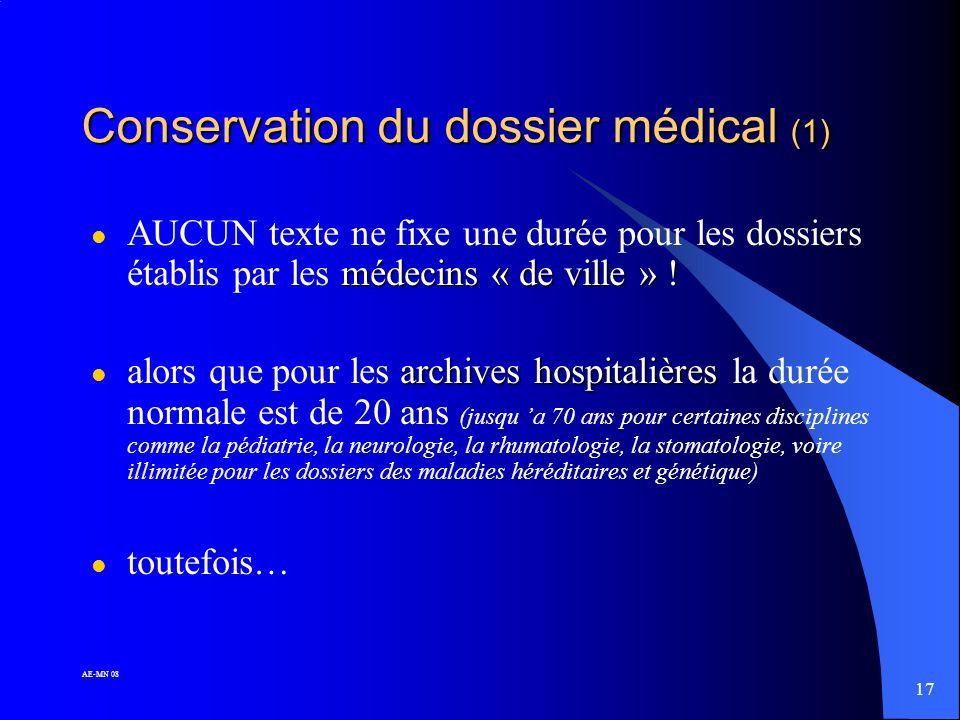 Conservation du dossier médical (1)