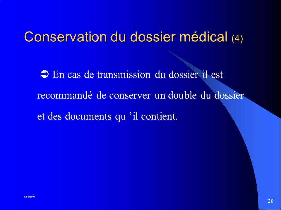 Conservation du dossier médical (4)
