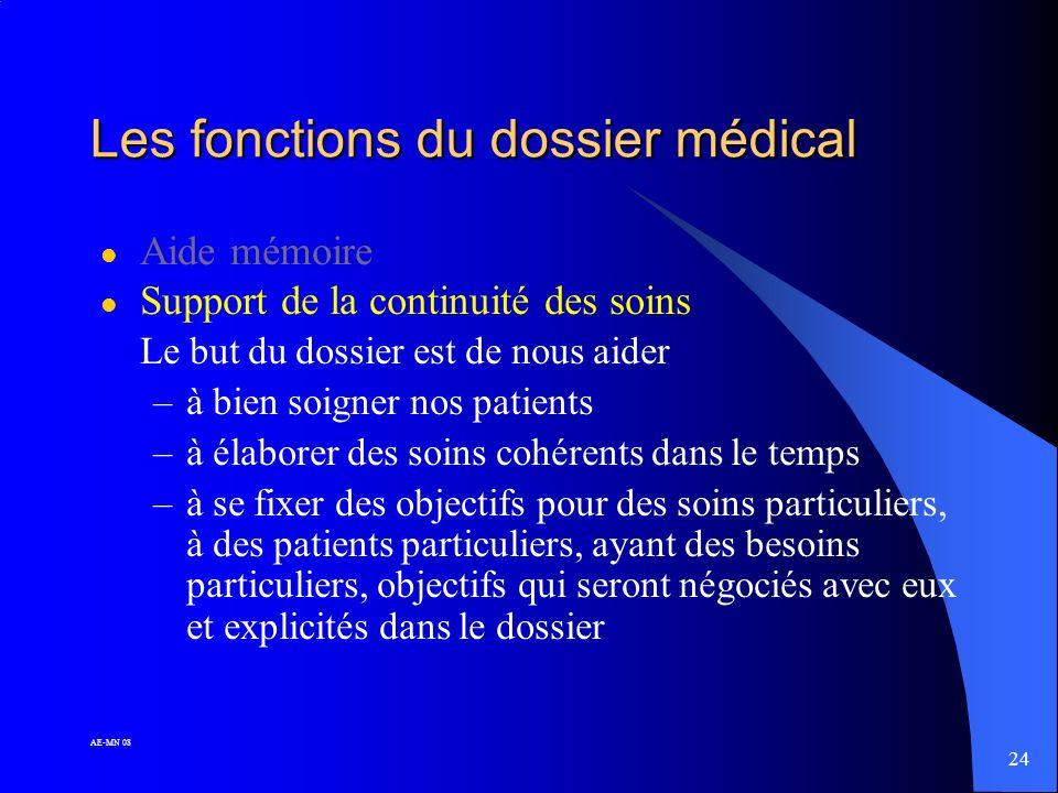 Les fonctions du dossier médical