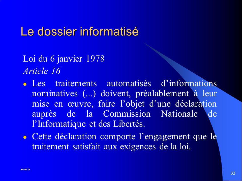 Le dossier informatisé