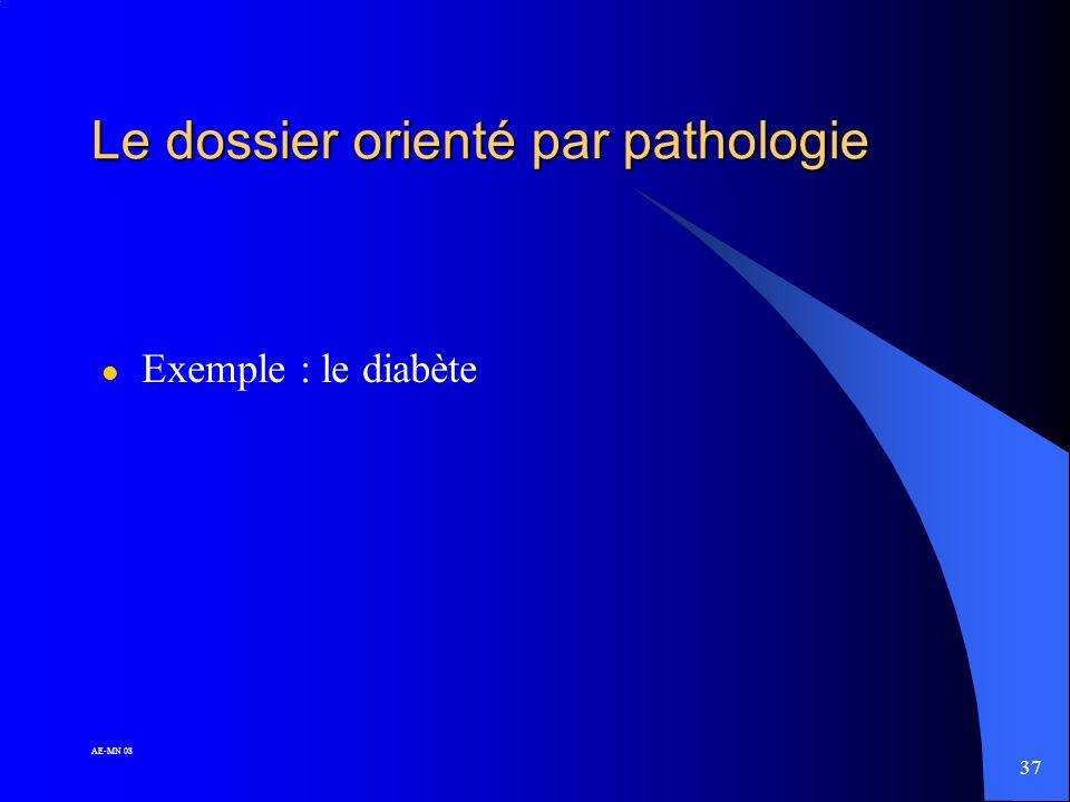 Le dossier orienté par pathologie