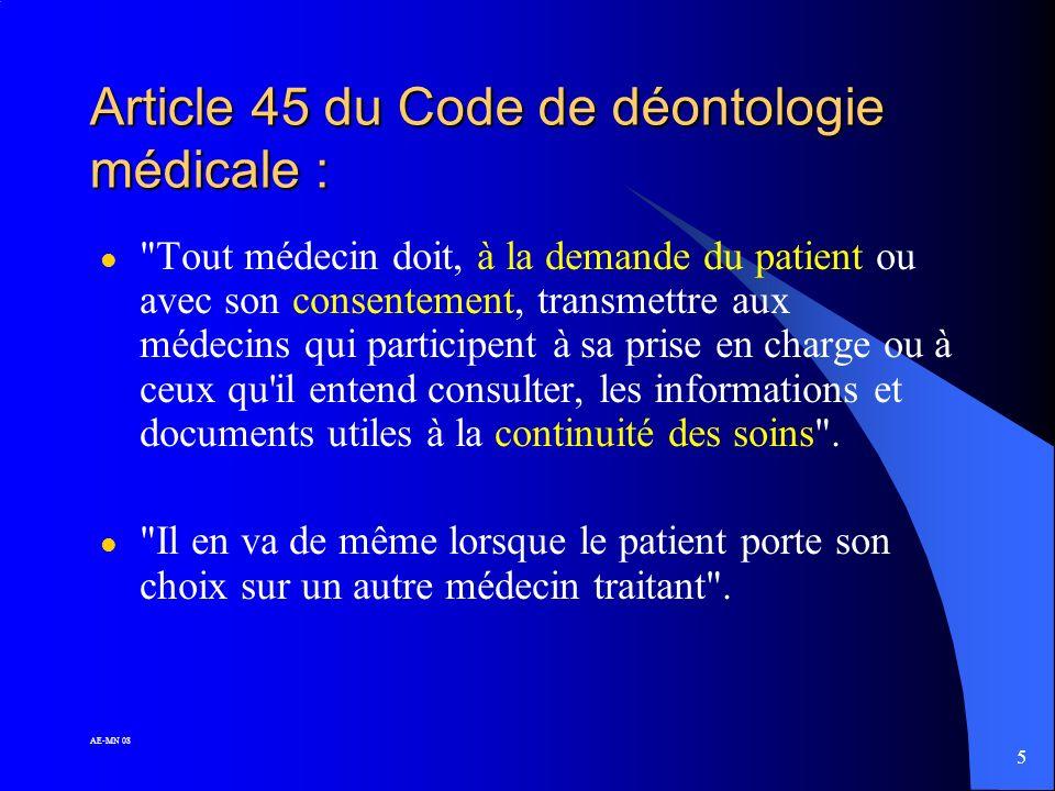 Article 45 du Code de déontologie médicale :