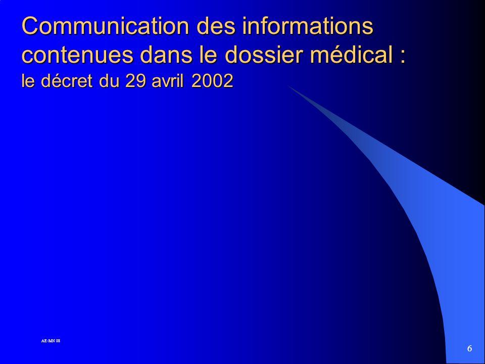 Communication des informations contenues dans le dossier médical : le décret du 29 avril 2002