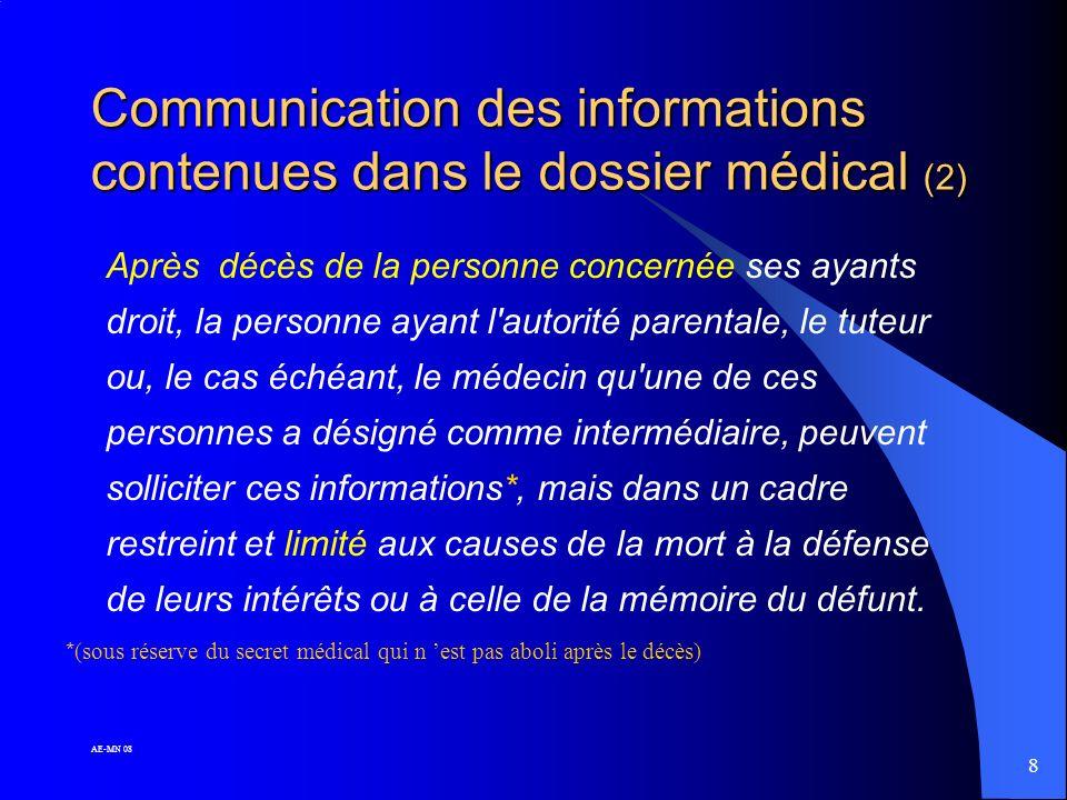 Communication des informations contenues dans le dossier médical (2)