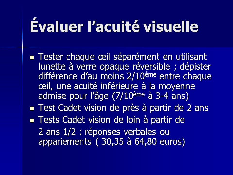 Évaluer l'acuité visuelle