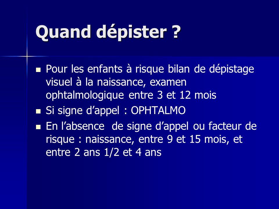 Quand dépister Pour les enfants à risque bilan de dépistage visuel à la naissance, examen ophtalmologique entre 3 et 12 mois.