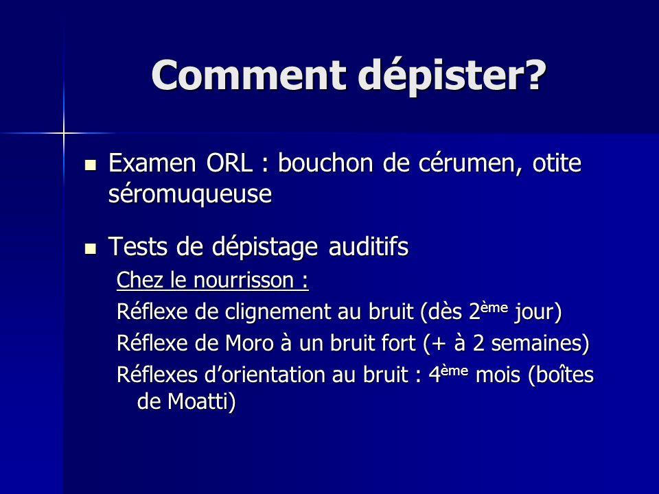 Comment dépister Examen ORL : bouchon de cérumen, otite séromuqueuse