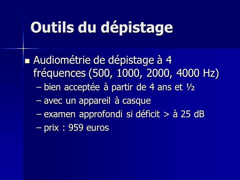 Outils du dépistage Audiométrie de dépistage à 4 fréquences (500, 1000, 2000, 4000 Hz) bien acceptée à partir de 4 ans et ½.
