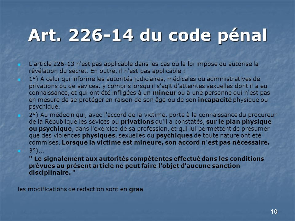 Art. 226-14 du code pénal