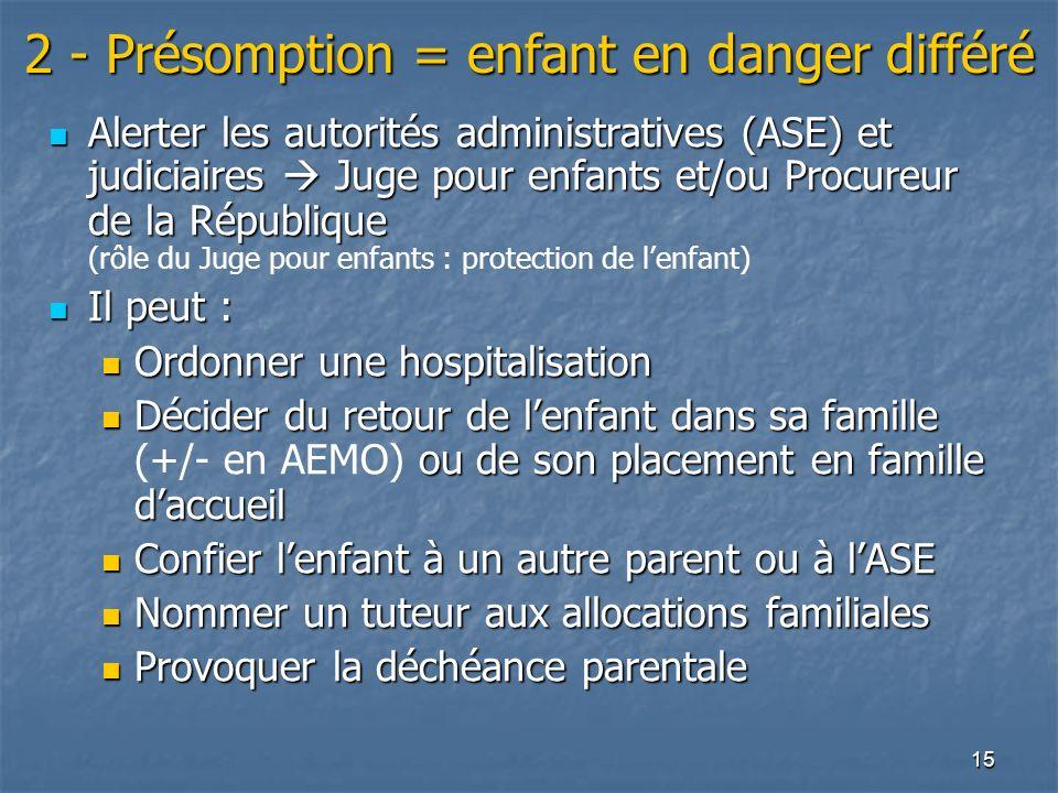 2 - Présomption = enfant en danger différé