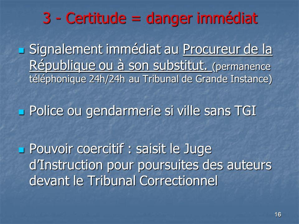 3 - Certitude = danger immédiat