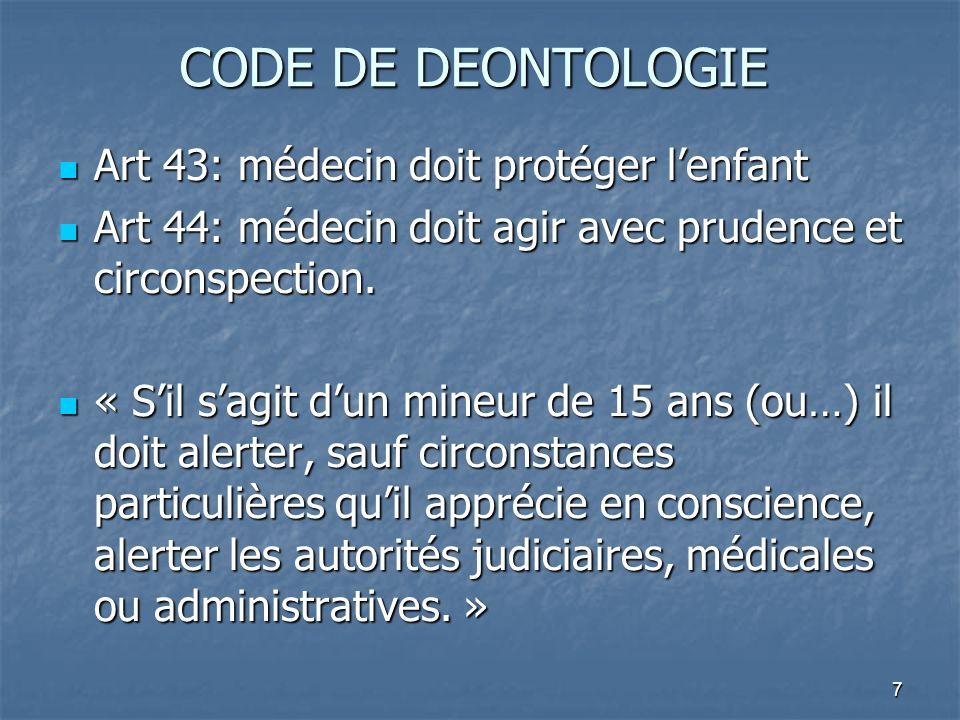 CODE DE DEONTOLOGIE Art 43: médecin doit protéger l'enfant