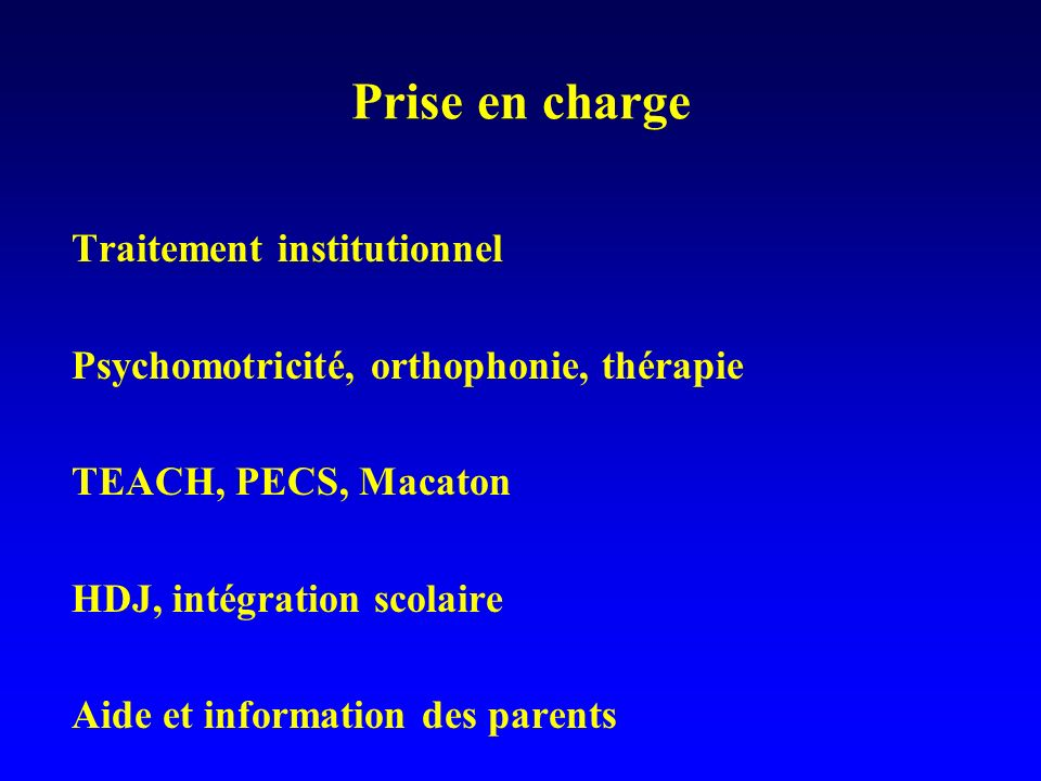 Prise en charge Traitement institutionnel