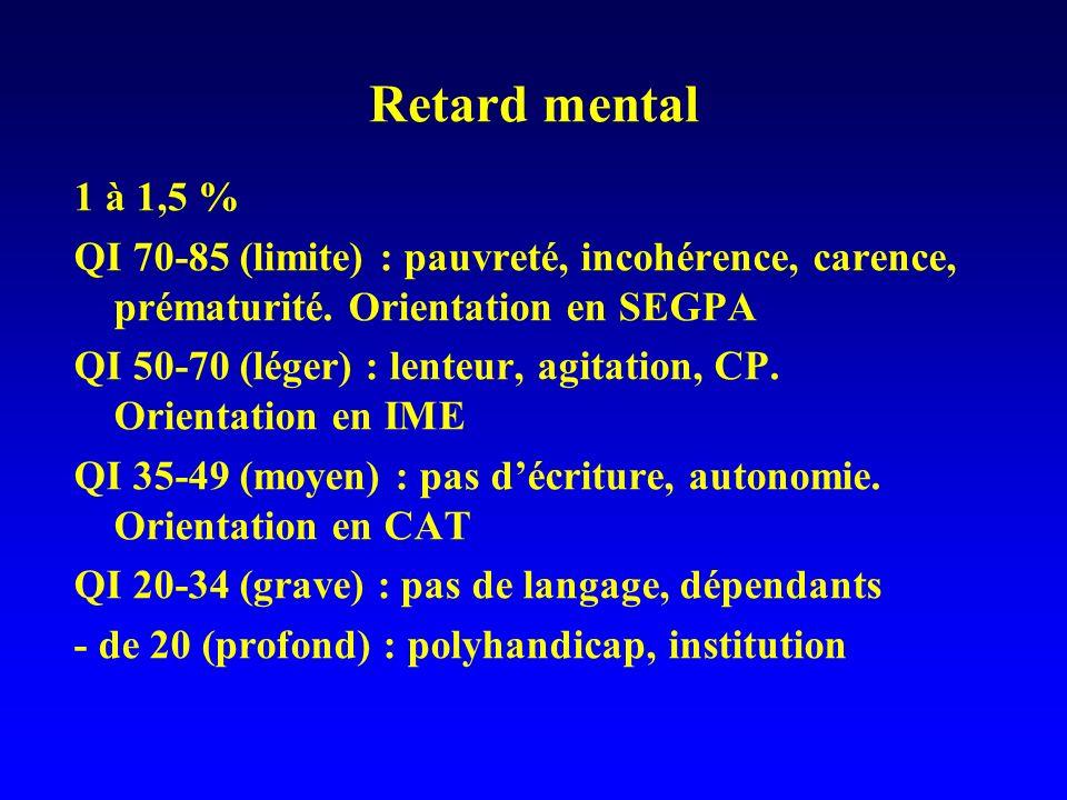 Retard mental 1 à 1,5 % QI 70-85 (limite) : pauvreté, incohérence, carence, prématurité. Orientation en SEGPA.