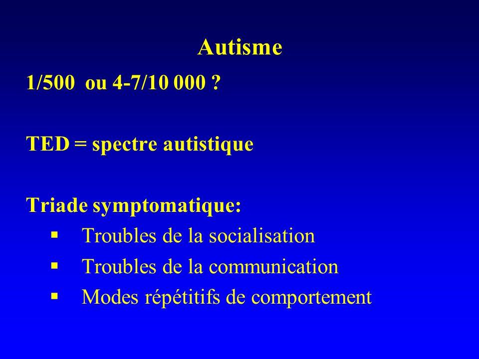 Autisme 1/500 ou 4-7/10 000 TED = spectre autistique